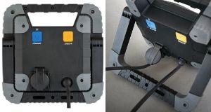 LED Strahler TORAN: extra Steckdose mit selbstschließendem Deckel an der Rückseite des Strahlers