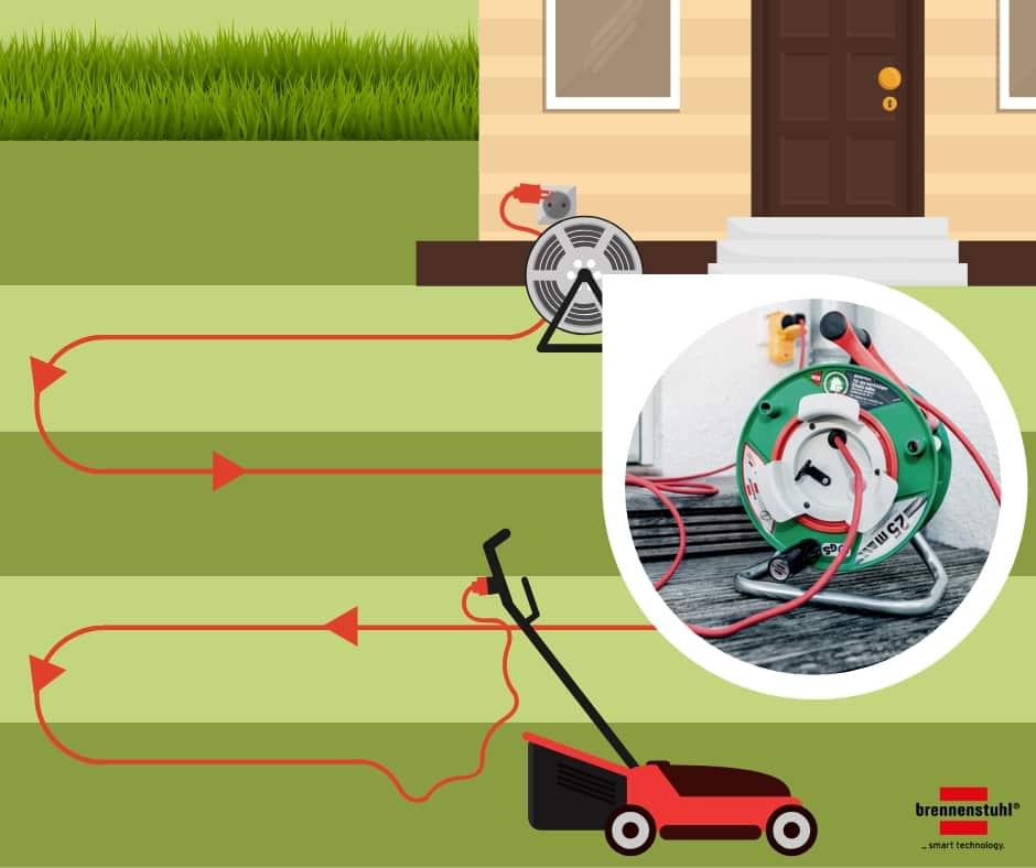 Ideal zum Rasenmähen - Die brennenstuhl® Gartenkabeltrommelv