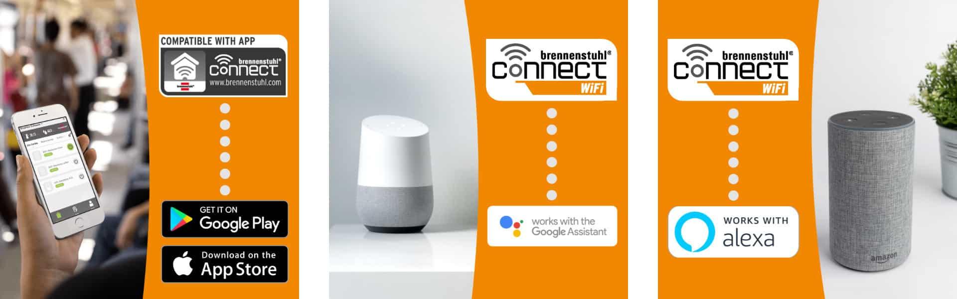 brennenstuhl Connect WiFi Steckdosen kompatibel mit Google Assistant und Amazon Alexa