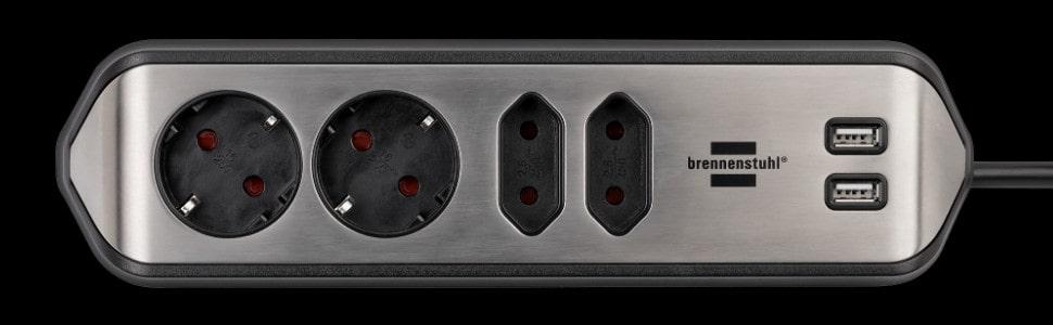 brennenstuhl Estilo Ecksteckdosenleiste aus eloxiertem Aluminium